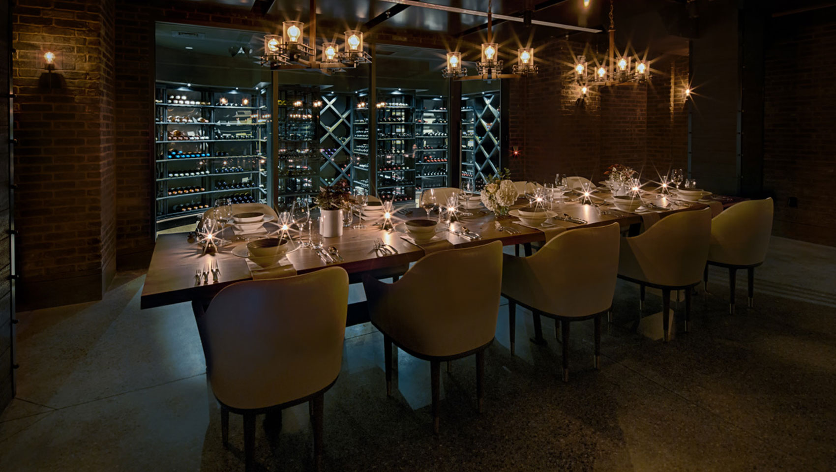 wine cellar with table setting