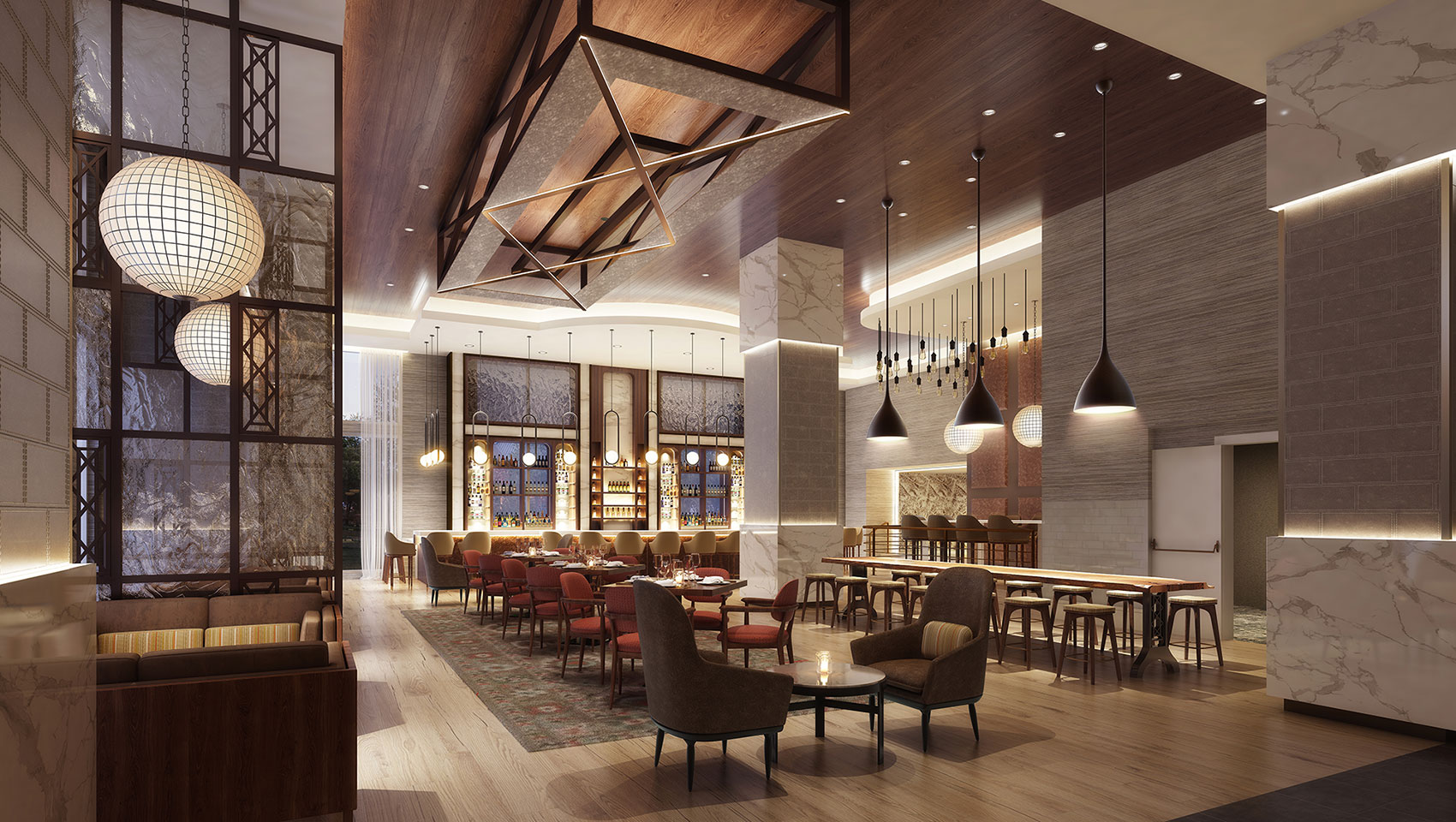 restaurant seating and tall ceilings