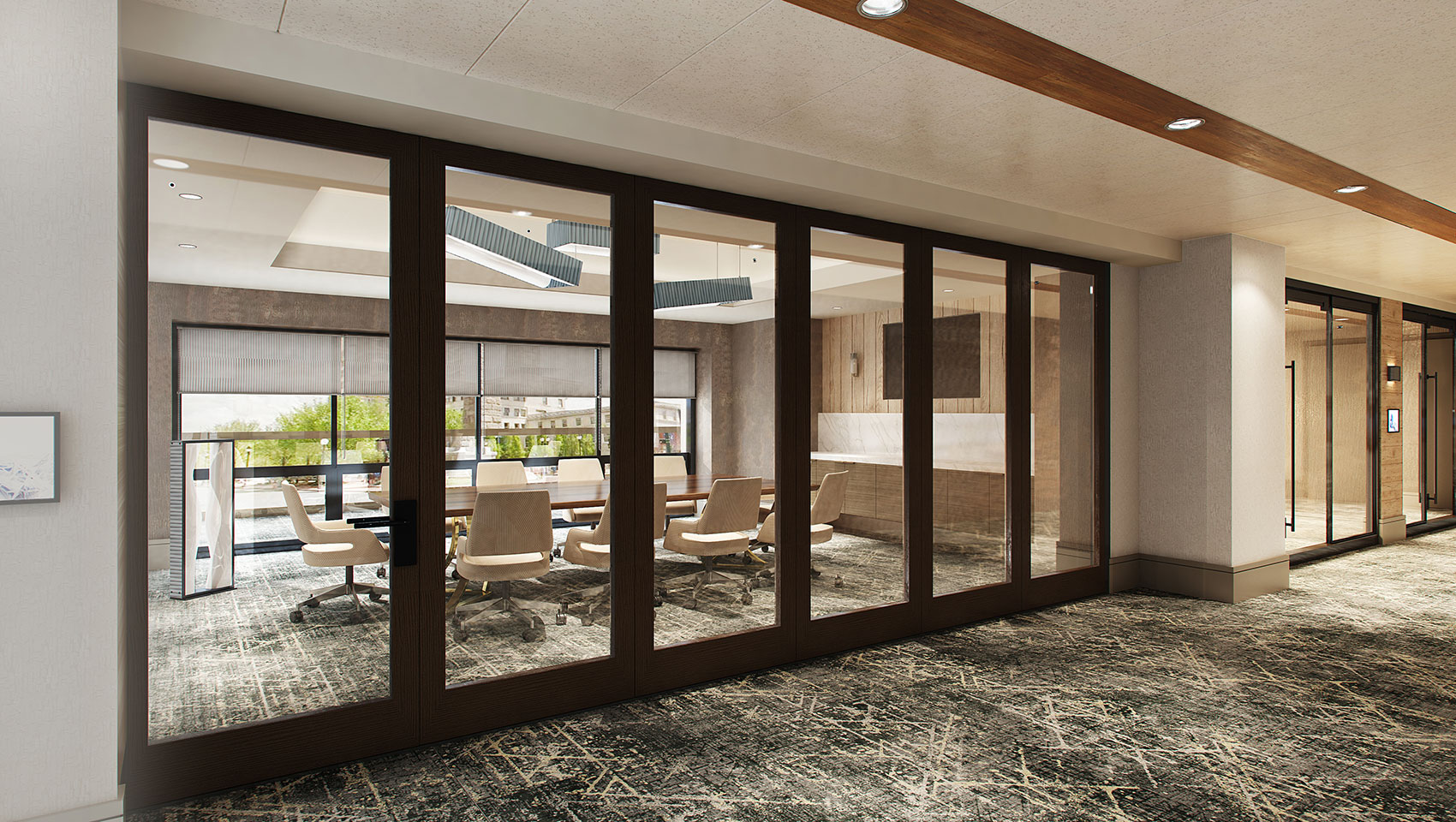 meeting room behind glass doors